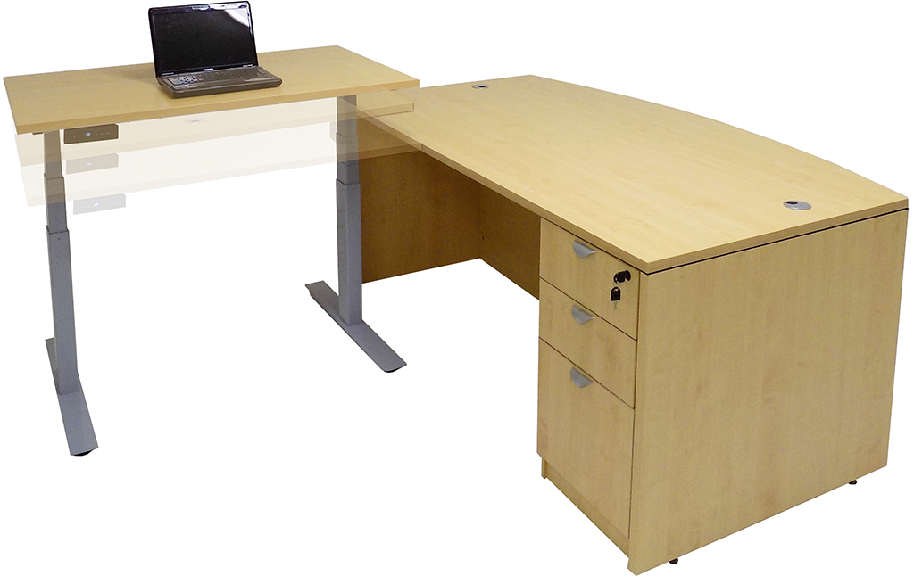 Bow Front L Desk W/Electric Lift Height Adjustable Return