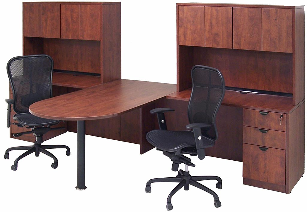 Cherry laminate 2 person peninsula workstation w hutches - Two person office desk ...