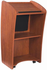 Curved Cherry Podium with LCD Display Screen w/Casters