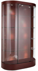 "74-1/2""H Curved Wall Locking Display Case w/Casters"