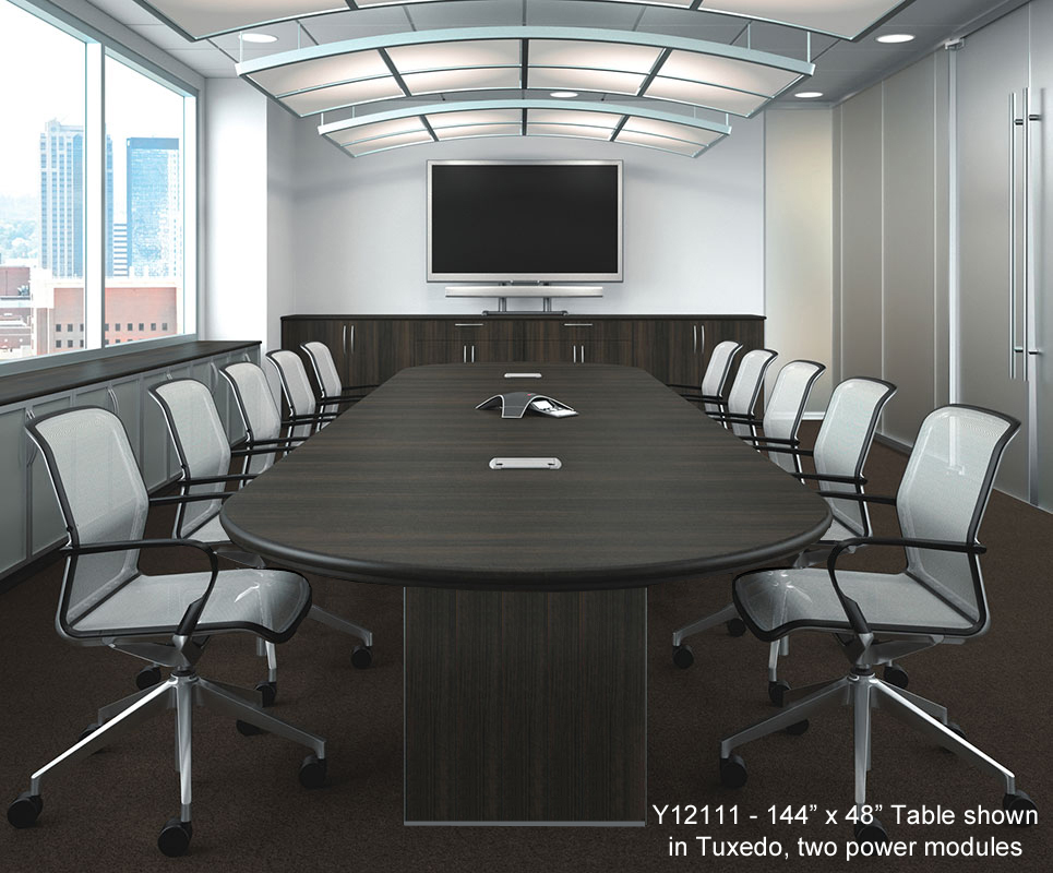 Custom Oval Conference Tables W Cable Channel Bases 96