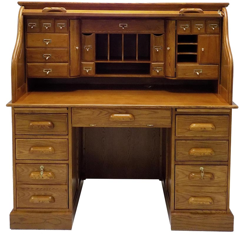 Awe Inspiring 53 3 4W Deluxe Oak Roll Top Desk In Stock Interior Design Ideas Clesiryabchikinfo