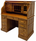 "53-3/4""W Deluxe Oak Roll Top Desk - In Stock!"