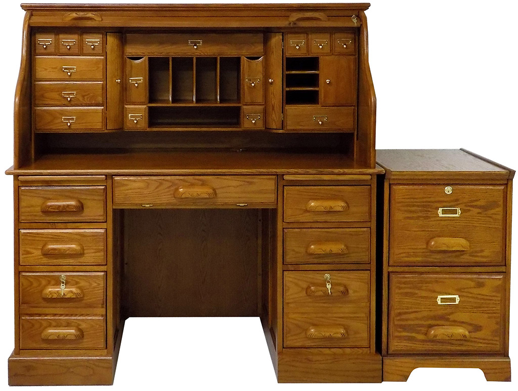 Deluxe Oak Roll Top Desk File Package