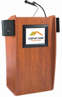 Curved Cherry Podium w/ LCD Display Screen w/Sound System & Casters