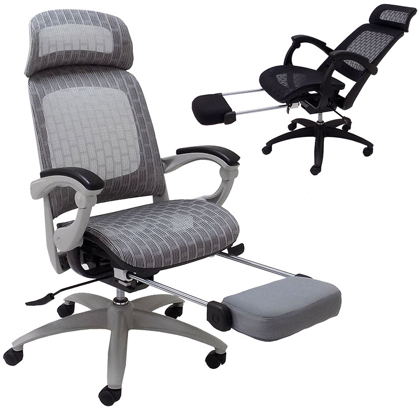 Elastic All Mesh Reclining Office Chair W Adjule Sliding Seat Depth Footrest