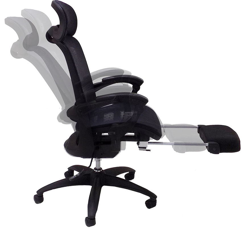 Elastic All Mesh Reclining Office Chair W/Adjustable Sliding Seat Depth U0026  Footrest