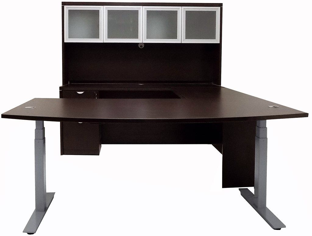 u desk with small shaped hutch pro raw concept bestar