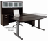Mocha Electric Lift Adjustable Height  U-Desk w/Hutch