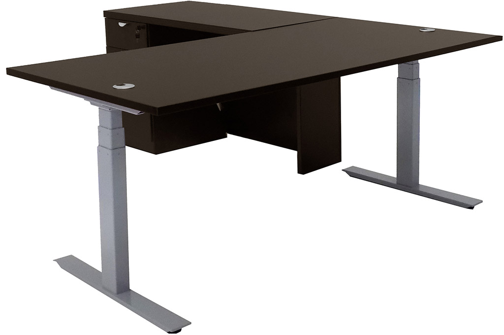 electric lift height adjustable l shaped desks. Black Bedroom Furniture Sets. Home Design Ideas