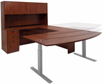 Electric Lift Adjustable Height Cherry U-Desk w/Hutch