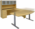 Maple Electric Lift Adjustable Height  U-Desk w/Hutch