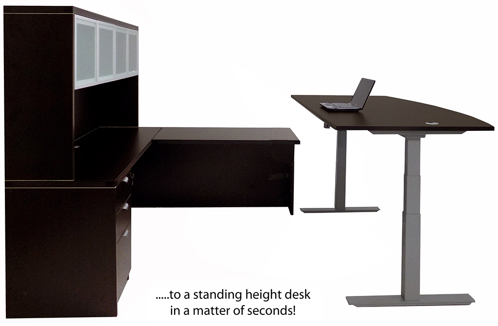 Mocha Electric Lift Adjule Height U Desk W Hutch