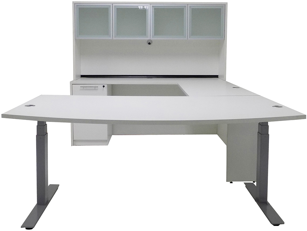 White Electric Lift Adjustable Height U Desk W Hutch