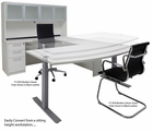 Electric Lift Adjustable Height White U-Desk w/Hutch