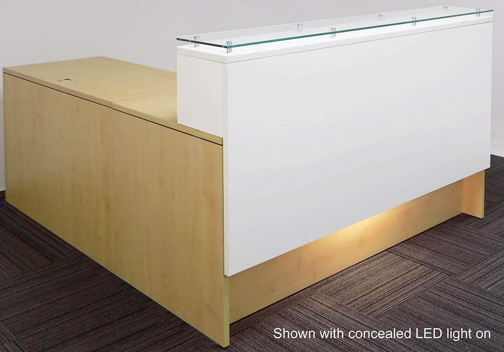 Emerge Glass Top L Shaped Reception Desk W Drawers Led Light 66