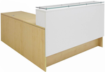 "Emerge Glass Top L-Shaped Reception Desk w/Drawers & LED Light - 66""W x 79""D"