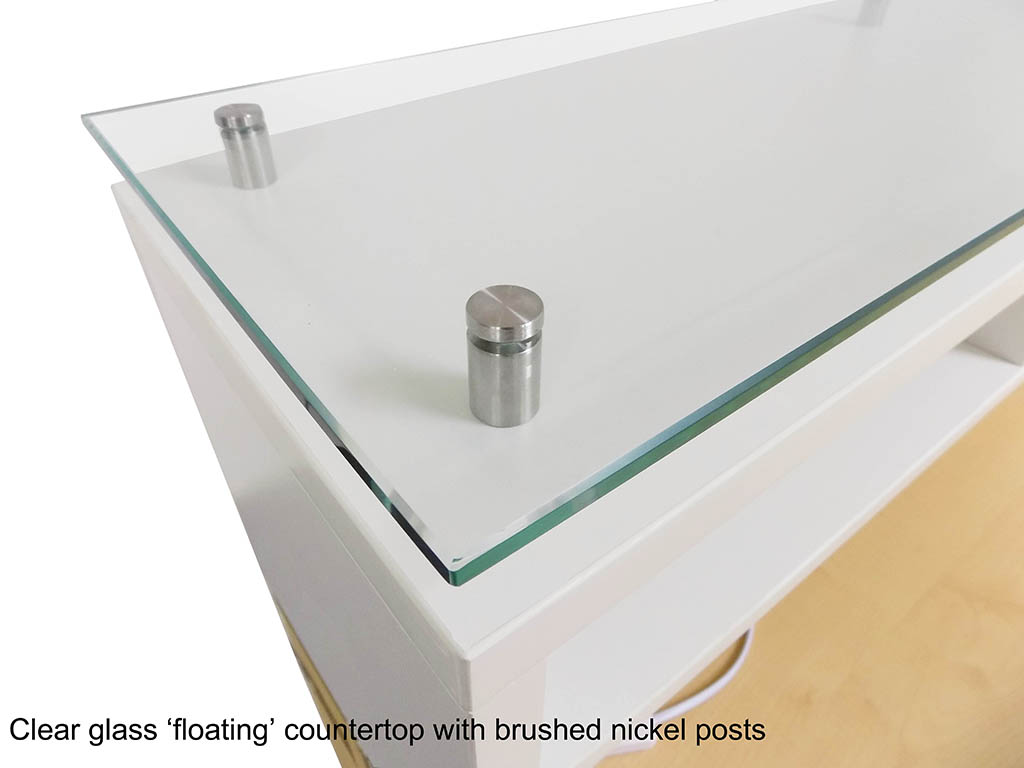 new concept 39e13 05883 Emerge Glass Top L-Shaped Reception Desk w/Drawers & LED Light - 66