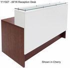 "Emerge Glass Top Reception Desk w/Drawers & LED Light - 66""W x 31""D"