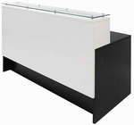 "Emerge Glass Top Reception Desk w/Drawers - 66""W x 31""D"