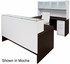 Emerge Glass Top U-Shaped Reception Workstation w/Drawers, Hutch, & LED Light - 71