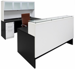 "Emerge Glass Top U-Shaped Reception Workstation w/Drawers, Hutch, & LED Light - 71"" x 108"""