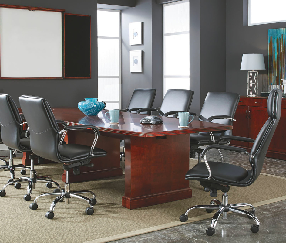 Expandable Brown Cherry Veneer Conference Tables 8