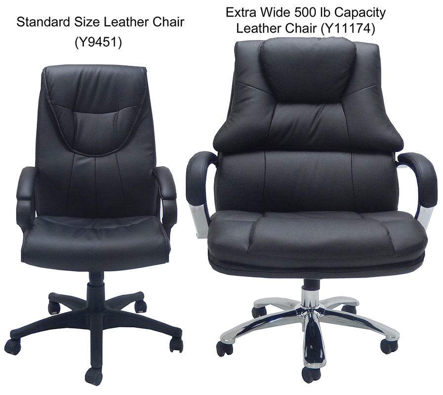 Extra Wide 500 Lbs Capacity Leather Desk Chair W 28W Seat