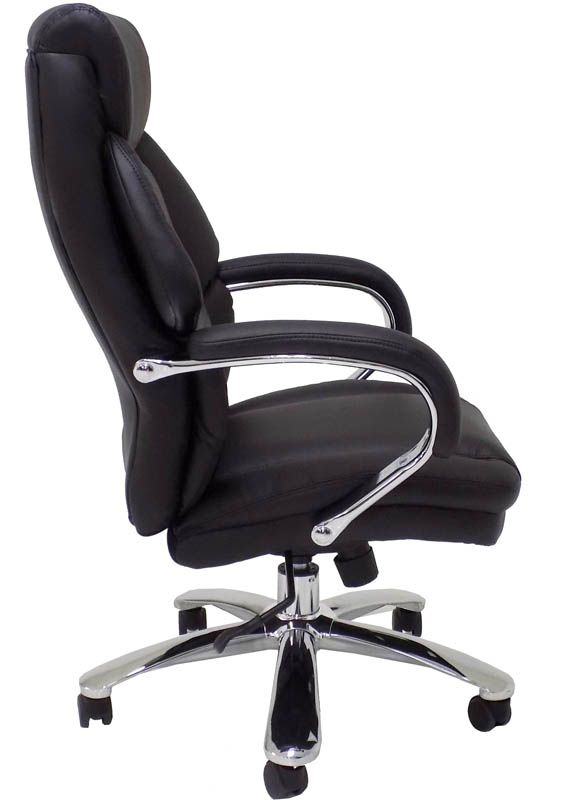 "extra wide 500 lbs. capacity leather office chair w/ 24""w seat"