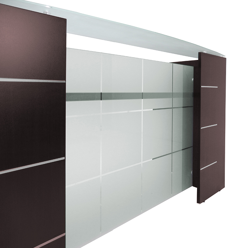 glass front reception desk in 7 colors