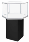 "49""H Hexagonal Pedestal Locking Display Case w/Casters"