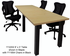 Conference Tables w/Square Black Legs & Mocha, Maple, White, Black or Charcoal Tops 6' to 16' Long.  6' x 4' Size-See Other Sizes Below