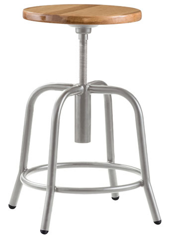 Industrial Metal Stool With Solid Wood Seat 18 Quot 25 Quot Seat