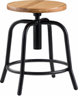 "Industrial Metal Stool with Solid Wood Seat, 18""-25"" Seat Height"