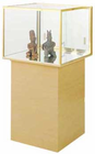 "66""H Museum Centerpiece Locking Display Case Pedestal w/Casters"
