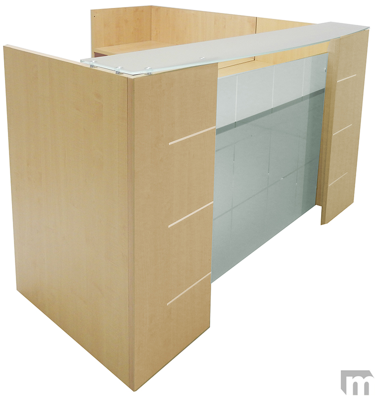 L Shaped Glass Front Reception Desk