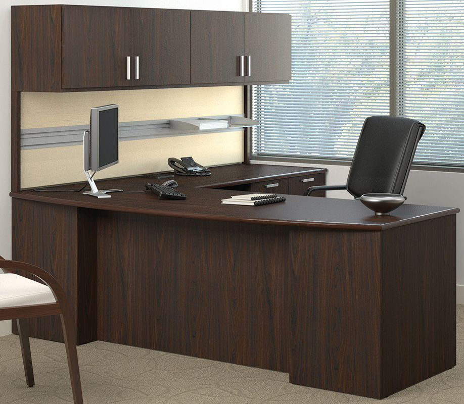 Methods Custom 84 Managers L Desk W Wall Mounted Hutch