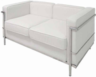 Modern Classic Leather Loveseat in Black or White