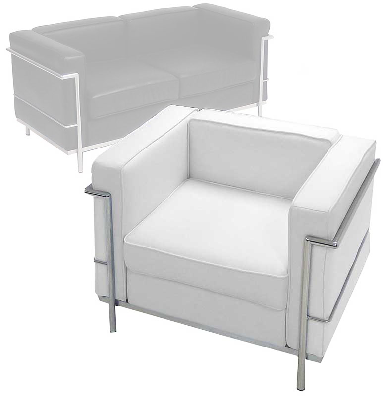 Modern Classic Leather Reception Seating In White Or Black