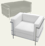 Modern Classic Leather Reception Seating in White or Black - Chair