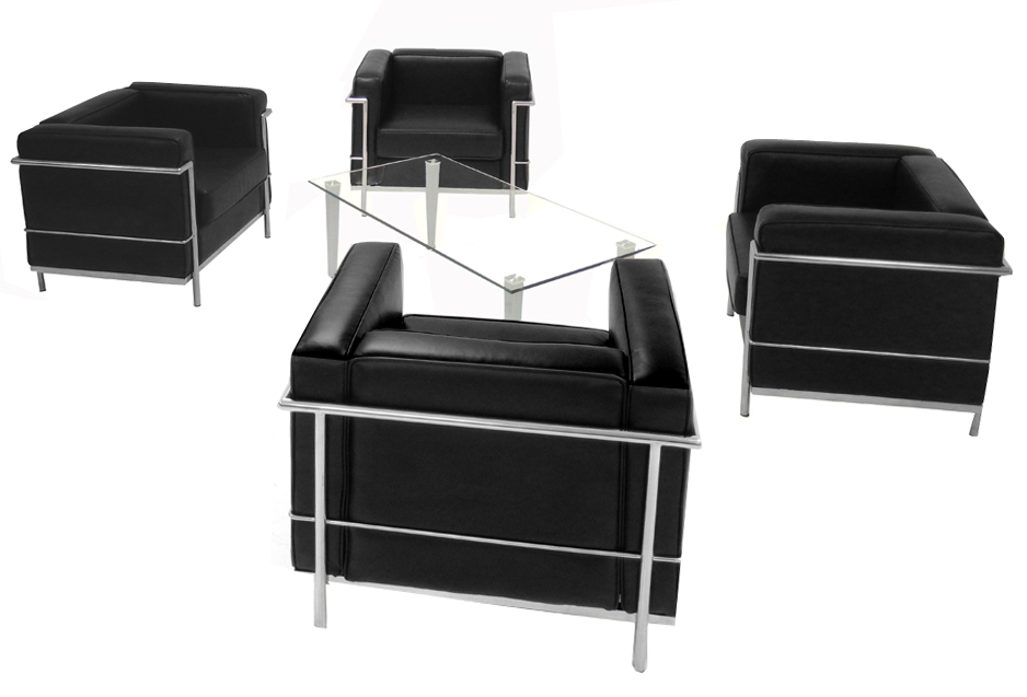 modern classic leather reception seating in white or black chair