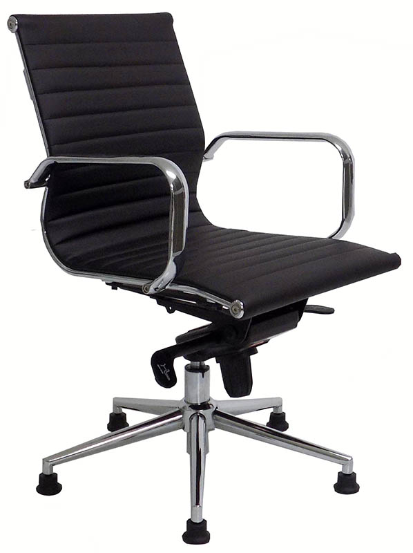 Modern Clic Leather Swivel Guest Chair On Glides Black White Red And Brown