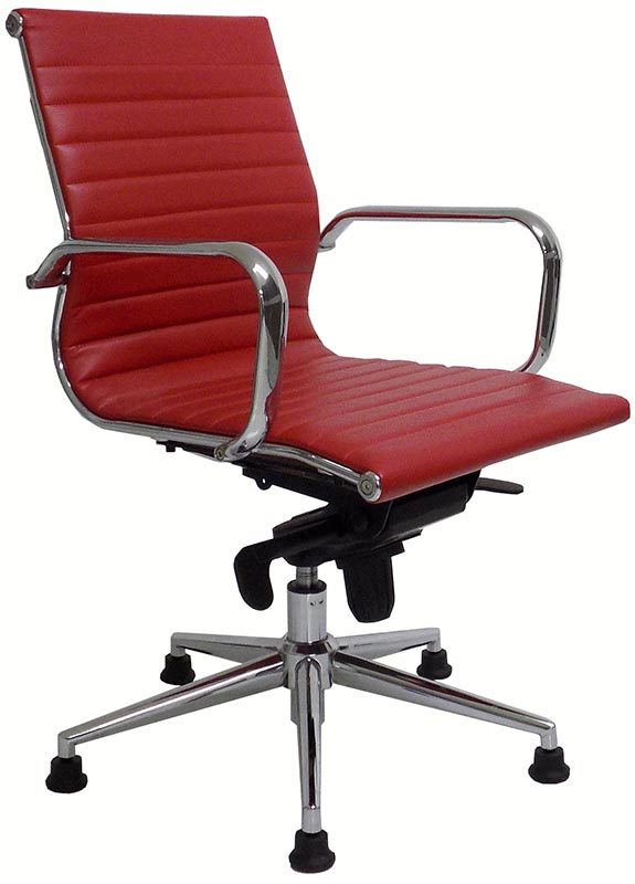 Modern Classic Leather Swivel Guest Chair On Glides   Black, White, Red And  Brown