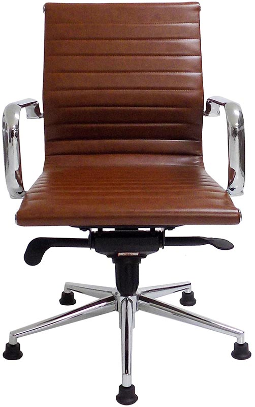 Modern classic leather swivel guest chair on glides for Modern classic furniture