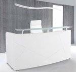 Modern High Gloss White Curved Reception Desk