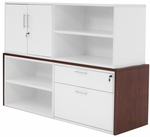 Modern Office Structures Cherry & White Modular Storage Credenza
