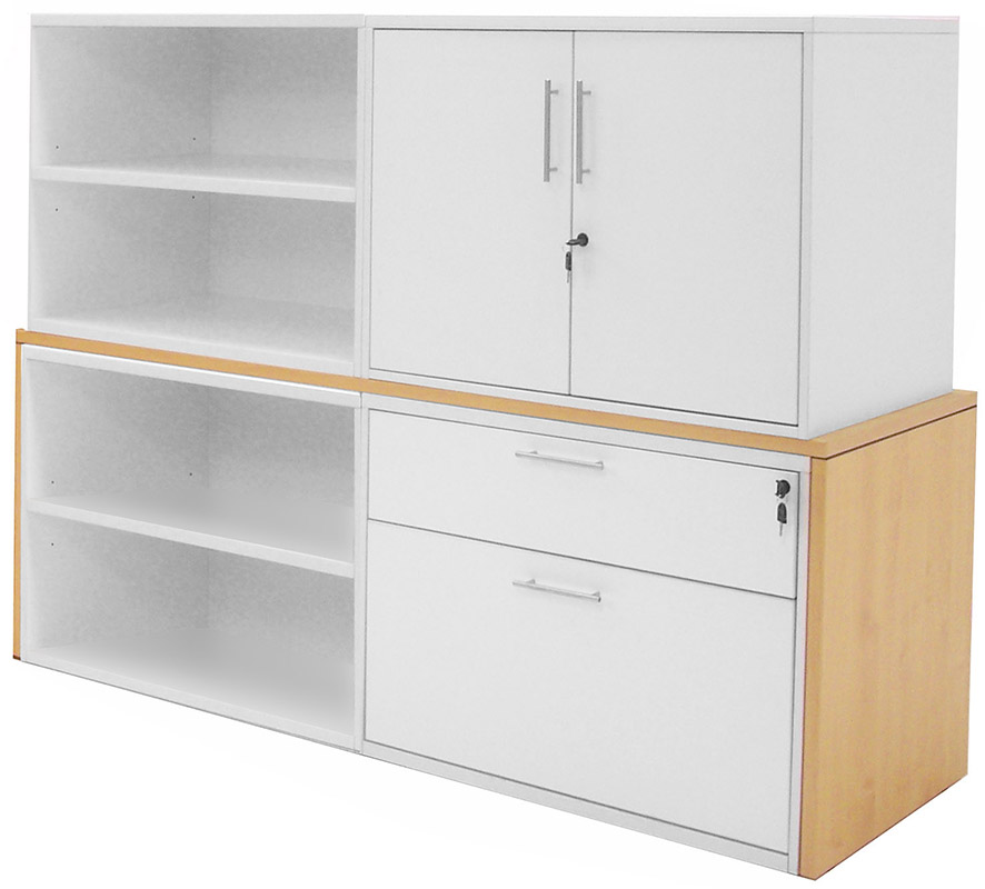 Modern Office Structures Maple & White Modular Storage Credenza on filing door, filing bench, filing shelf,