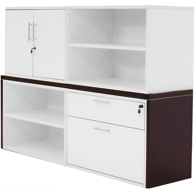 Modern Office Structures Mocha White Modular Storage