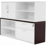 Modern Office Structures Mocha & White Modular Storage Credenza