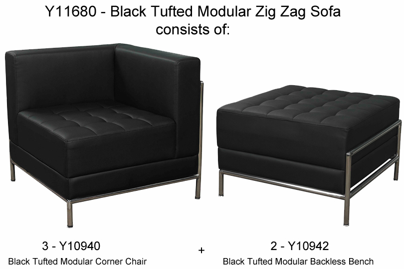 Black Tufted Modular 5 Seat Zig Zag Sofa